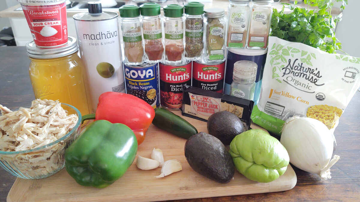 ingredients on display for chicken tortilla soup
