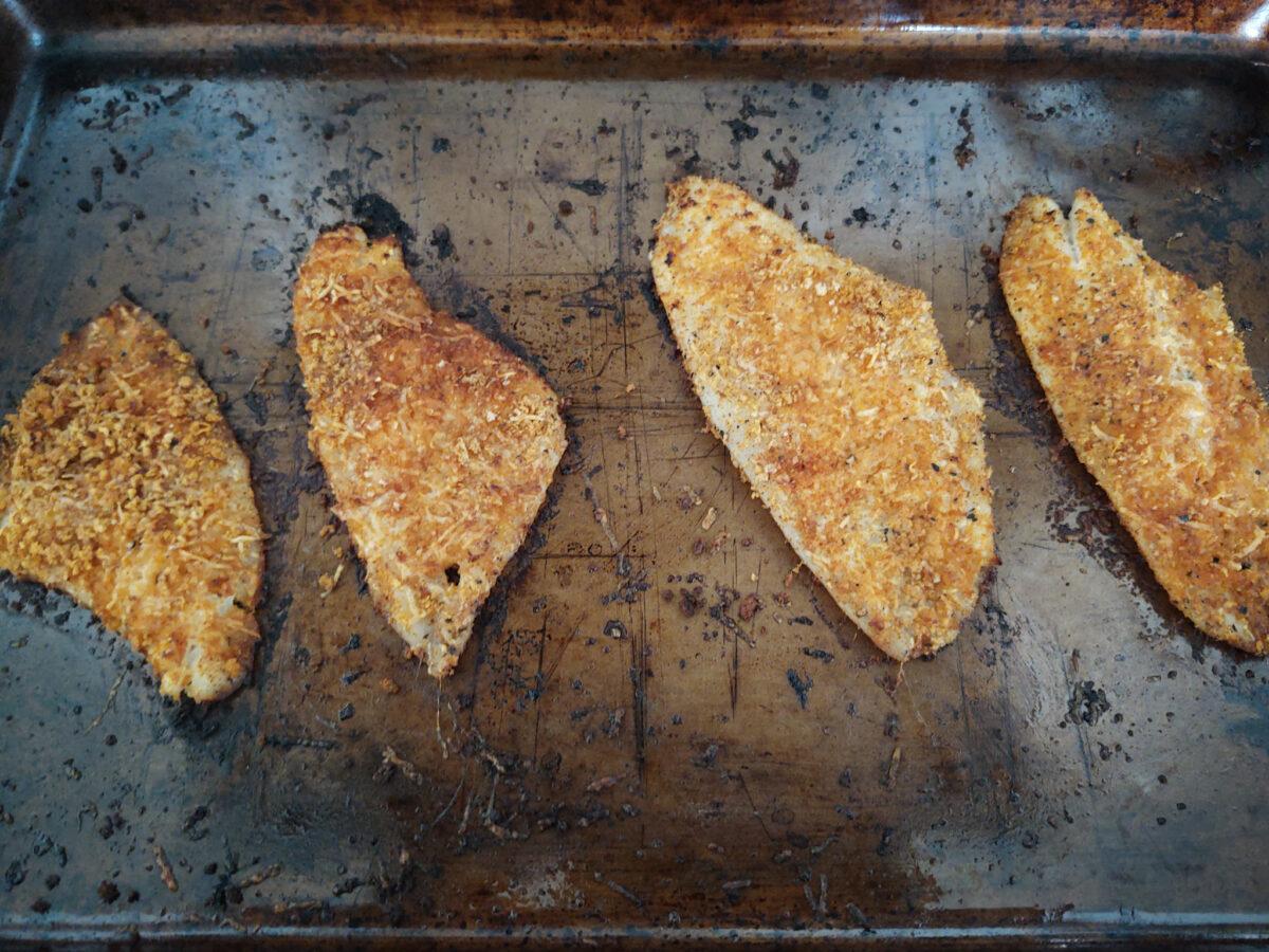 Lemon zest flounder after being oven roasted