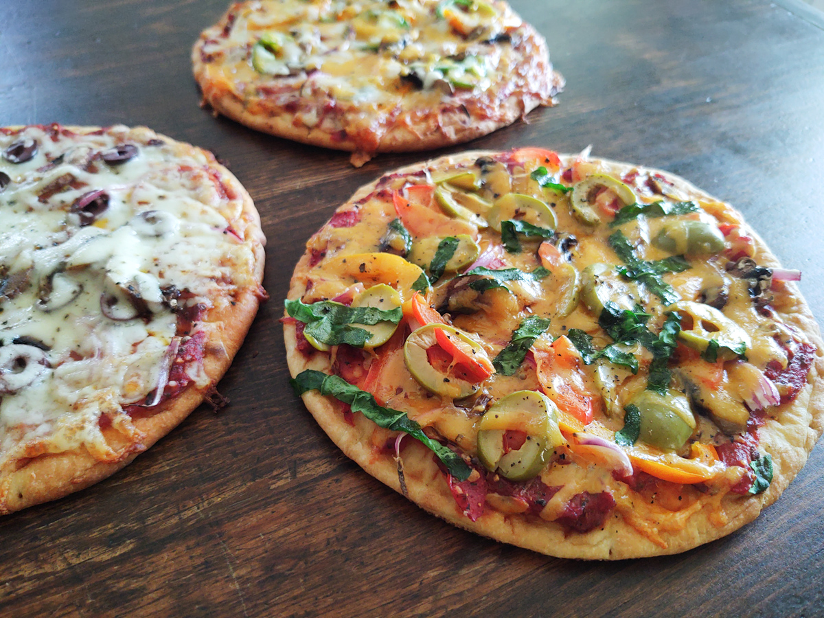 pita pizzas out of the oven with 5 minute pizza sauce