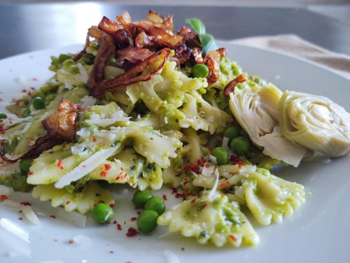Pesto pasta on a white plate