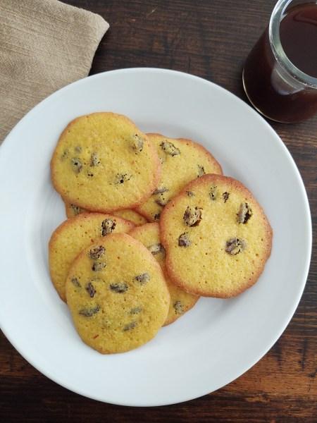 Vertical shot of saffron raisin cookies