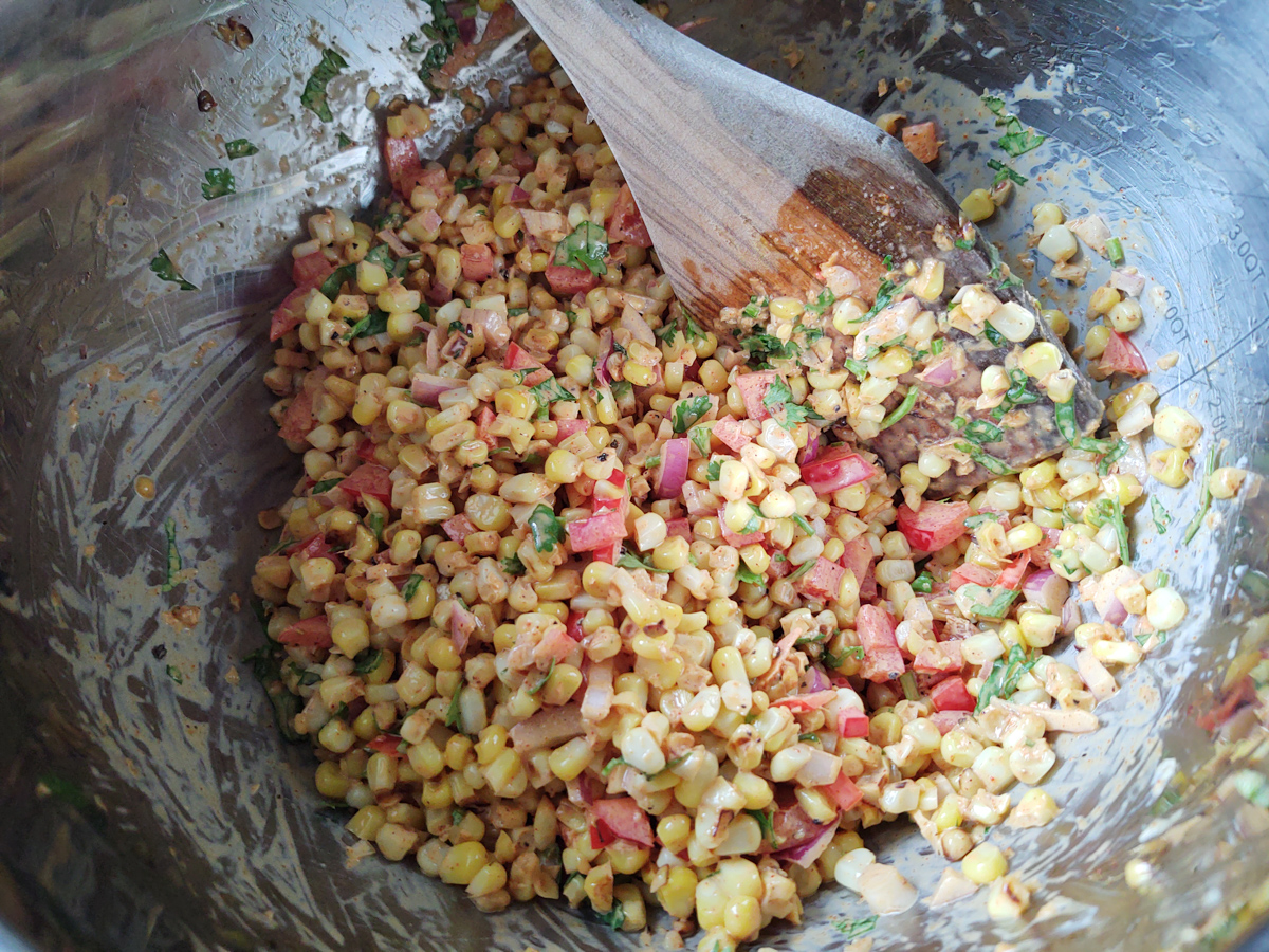 Mexican street corn mixed together without queso fresco