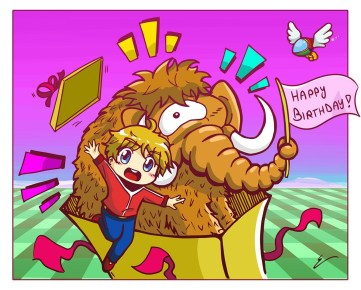 My artist buddy Emilio drew me this! He's known for his work done in the Mother 3 Handbook and we've been online pals now for a few years. Love your work dude!!! <3