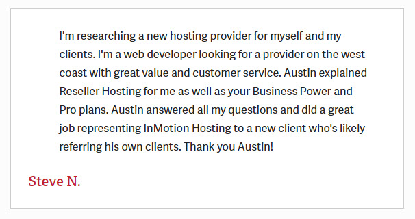 InmotionHostingTestimonial9 - InMotion Hosting Review