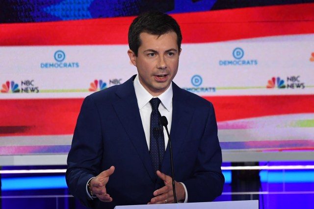 Democratic presidential hopeful Mayor of South Bend, Indiana Pete Buttigieg speaks during the second Democratic primary debate of the 2020 presidential campaign at the Adrienne Arsht Center for the Performing Arts in Miami, June 27, 2019.