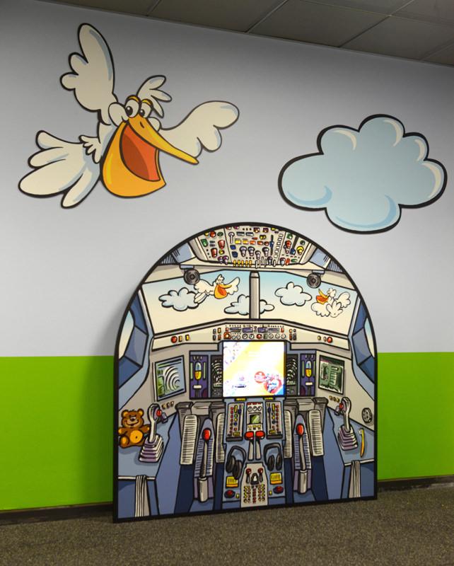 Kinderspielbereiche - Spielecke für Handel und Shoppingcenter - Kindercomputer Touchscreen Flughafen Stuttgart