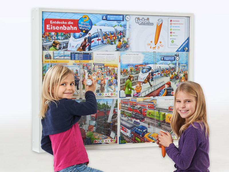 Ravensburger, Spielelement, Tiptoi, Entdecke die Eisenbahn, lernen, suchen, Spaß, Wandspiel, Großspiel, Wartezimmer, Wieso Weshalb Warum