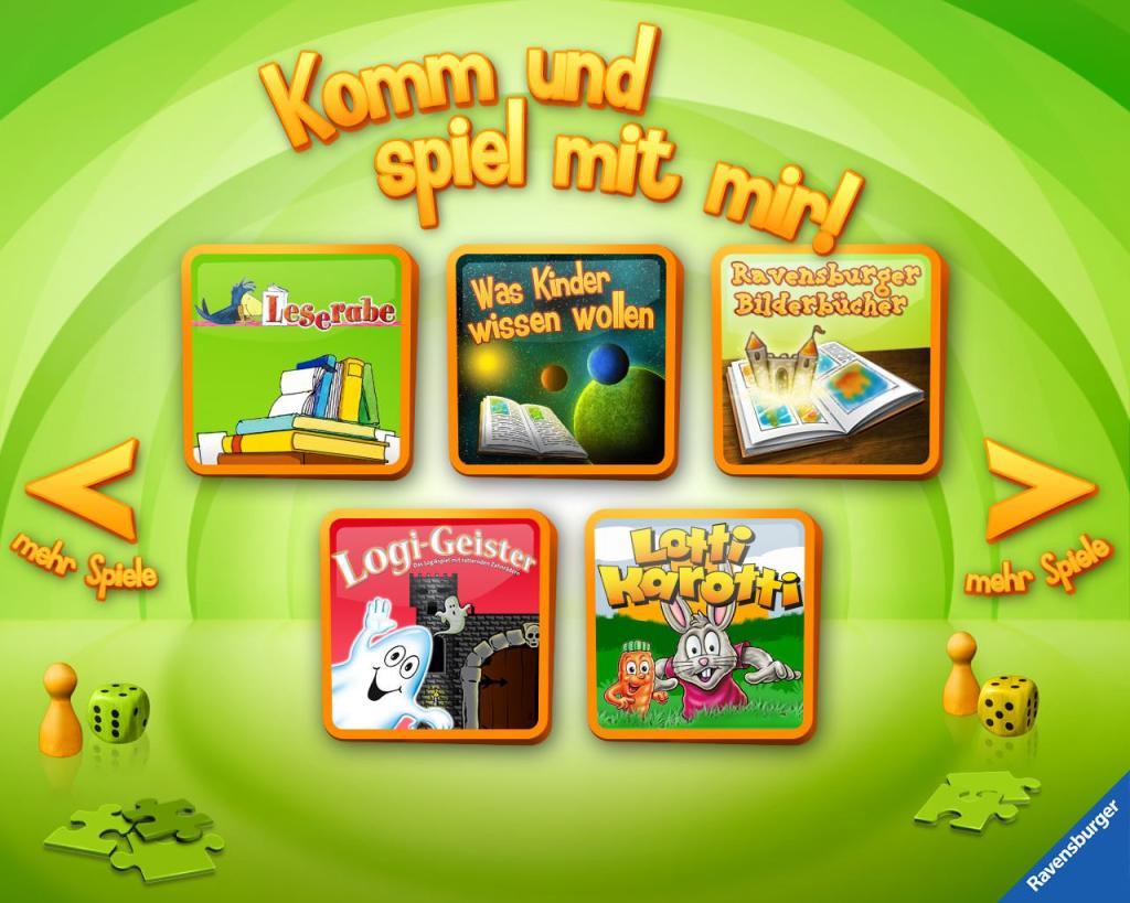 Übersicht der Kinder-Apps, Ravensburger, Kinder Touch Computer, Leserabe, Was Kinder wissen wollen, Bilderbücher, Logi-Geister, Lotti Karotti, Spiele