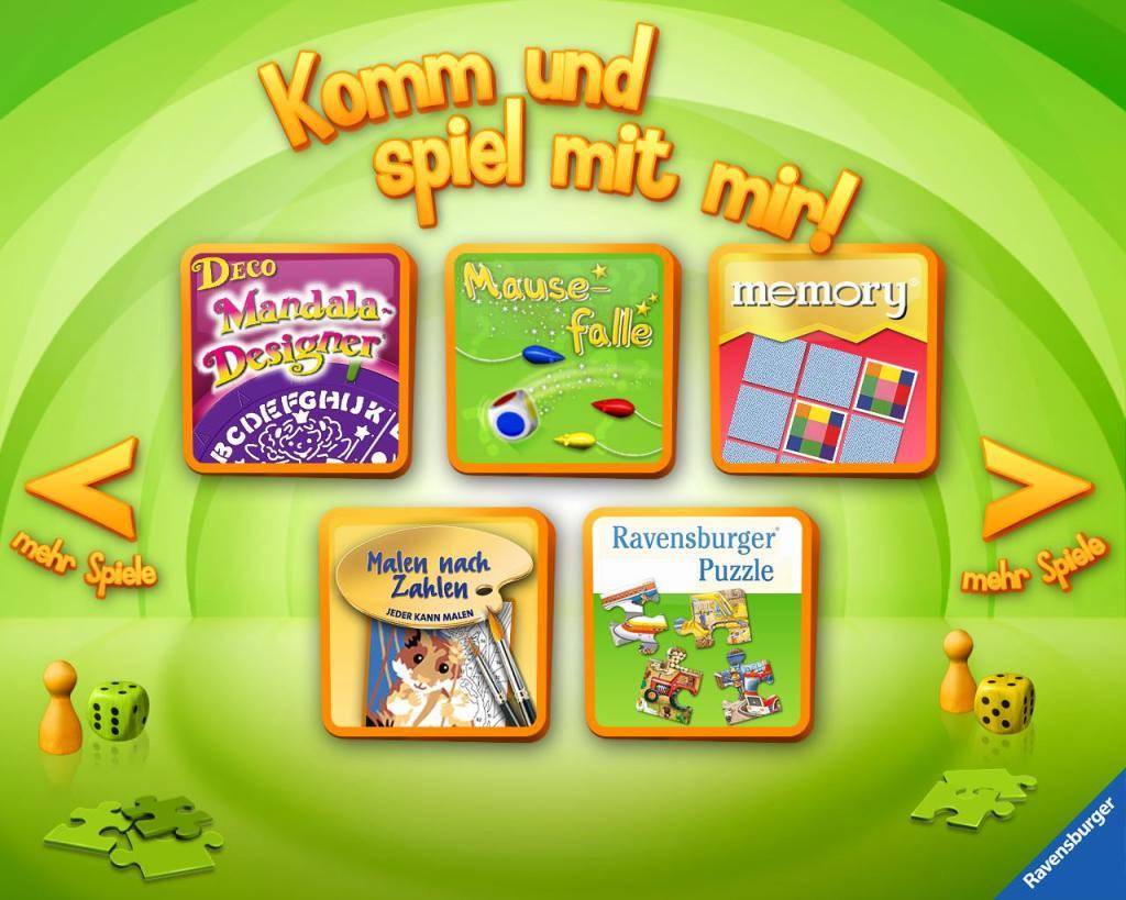 Übersicht der Kinder-Apps, Ravensburger, Kinder Touch Computer, memory, Mäusefalle, Mandala Designer, Malen nach Zahlen, Puzzle, Spiele