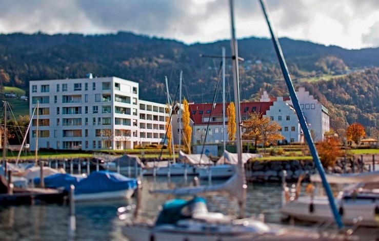 2011 Wohnhaus Bäumle Am Kaiserstrand, Lochau Wohnhaus mit 52 Eigentumswohnungen, Tiefgarage mit 80 Einstellplätzen © Markus Gmeiner, Bauart