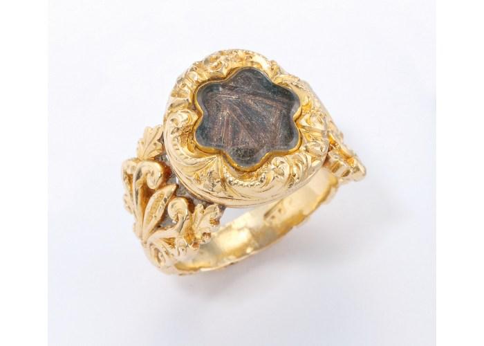 Mourning ring containing hair of Napoleon Bonaparte. Copyright Sir John Soanes Museum.