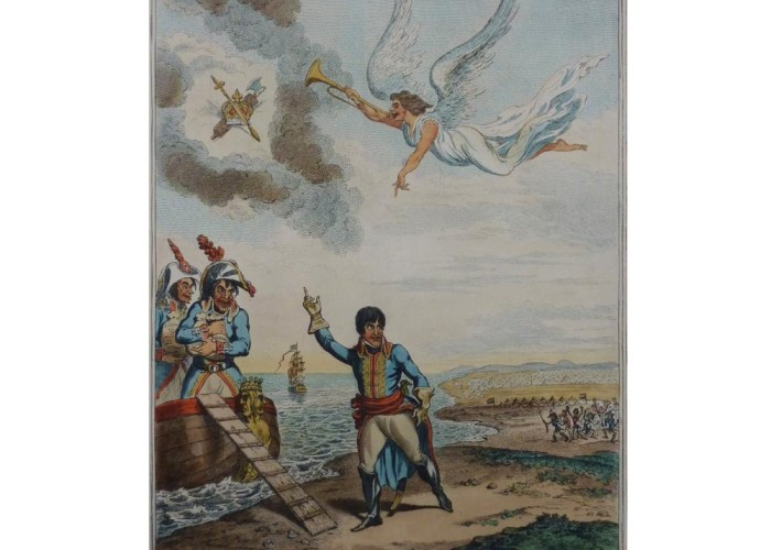 a colour sketch of a figure stepping into a boat whilst waving to an army