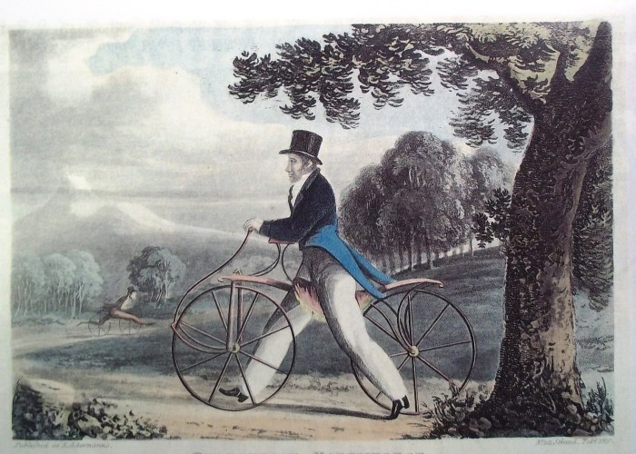 A painting of a well-dressed man in a top hat and tails, riding an early model of a bike in a park. A large tree can be seen in the foreground and towards the back you can see another man riding a similar bike.