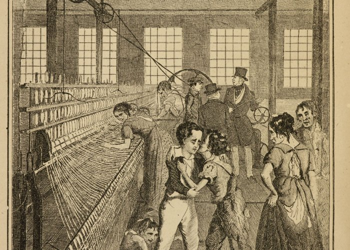 A black and white print showing a textile factory with a large loom. Child workers can be seen in the foreground in tattered clothing.