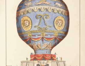 A colour print of a large hot air balloon, the balloon is blue and decorated with gold faces, cherubs, lions and eagles.