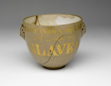 2964575 Sugar bowl with two masks of fawns on each side, inscribed with 'East India Sugar, not made by SLAVES', 1810-40 (ceramic) by English School, (19th century); Wilberforce House, Hull City Museums and Art Galleries, UK; English, out of copyright.