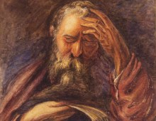A painting of an elderly man with a grey bushy beard. The man is dressed in red robes and he is holding his hand to his head with his eyes shut.