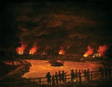 A landscape painting depicting a series of fires at night. A small crowd of people can be seen silhouetted against the light of the fires, watching from across a body of water. The sky is black from smoke and the orange of the fires is reflected in the water.