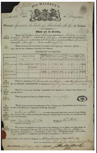 a document showing the service record of a Georgian / Victorian soldier
