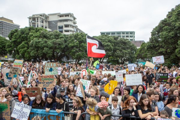 school students on a strike for climate