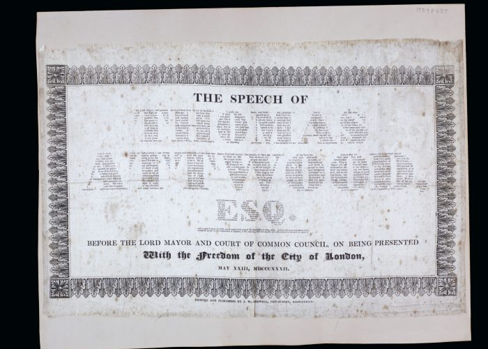 A piece of silk with a speech by Thomas Attwood printed on it