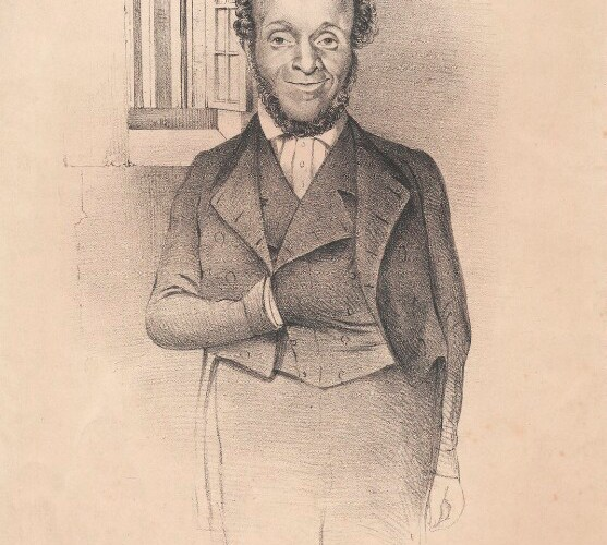 A sketch showing a smartly dressed man standing by a small window