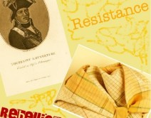 images of two slavery-related objects on yellow background with words 'resistance' and 'rebellion'