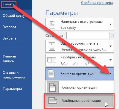Layout in Word über die Datei und die Druckregisterkarte