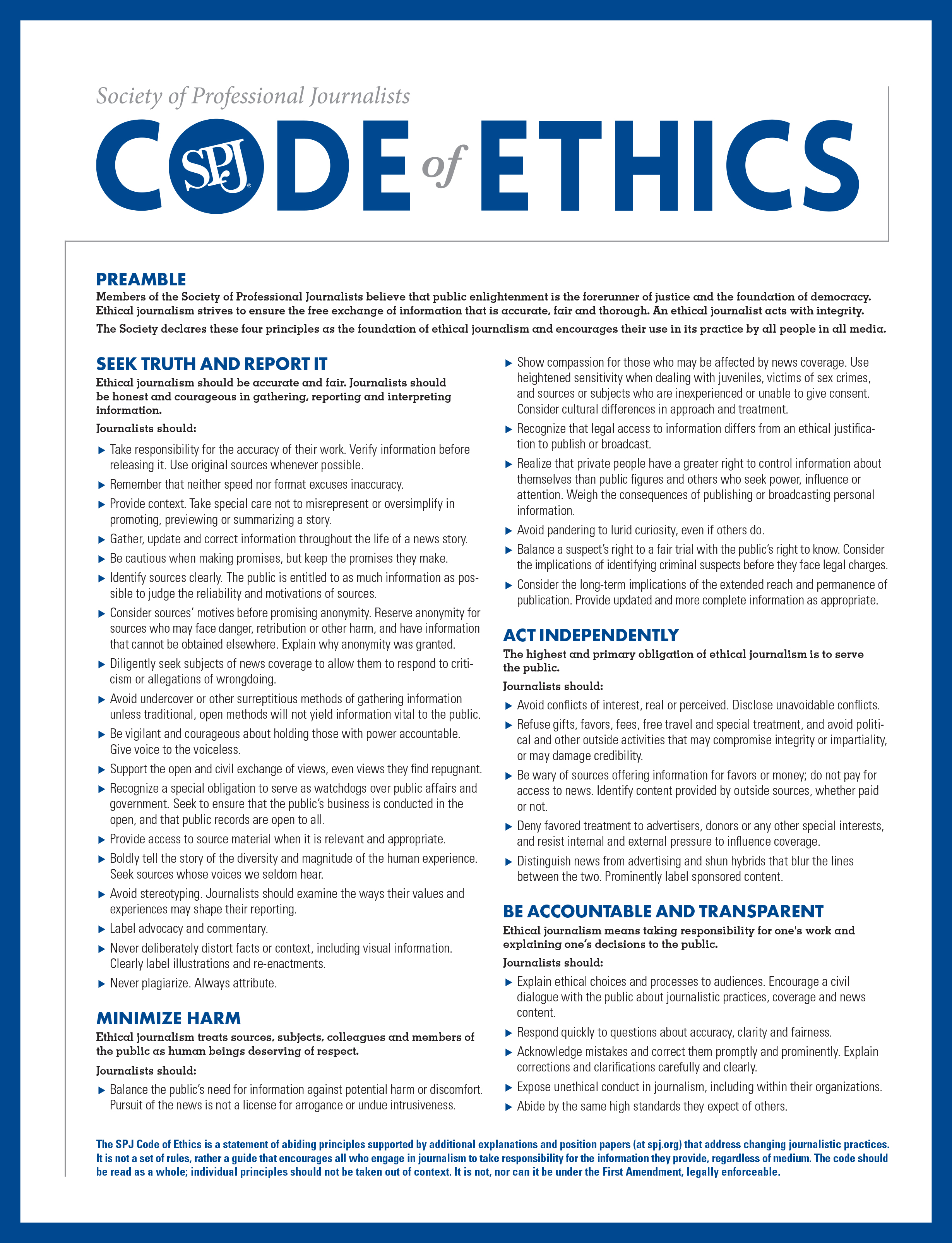 Image result for spj code of ethics