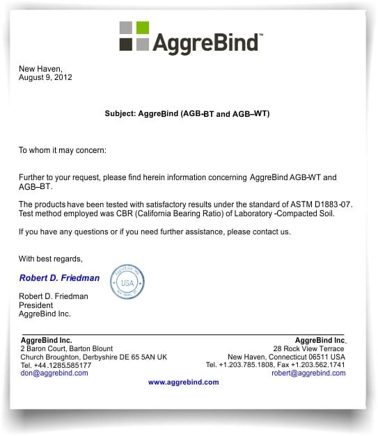 ASTM D1883-07 CBR Tested AggreBind