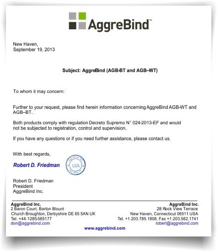 Certificado de cumplimineto de AggreBind con el Decreto Supremo N° 024-2013-EF - PERU