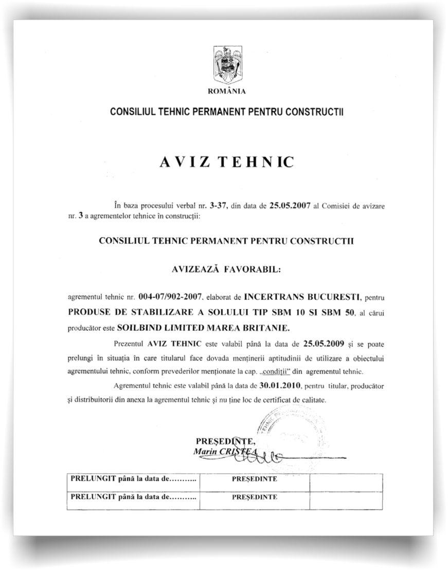 Romania Approval 97 AggreBind soil stabilizer