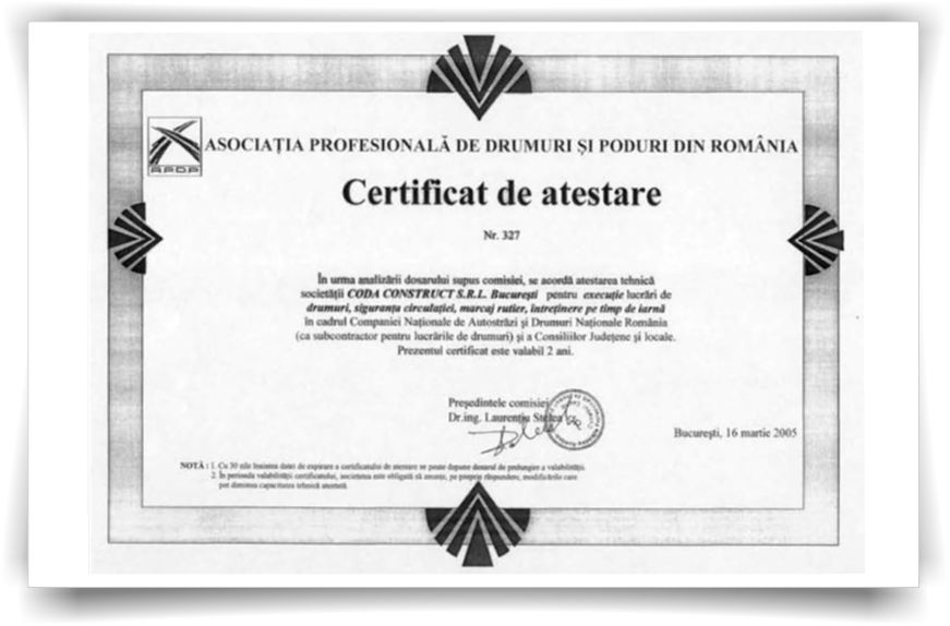 certificat de atestae AggreBind Soil stabilization and dust control