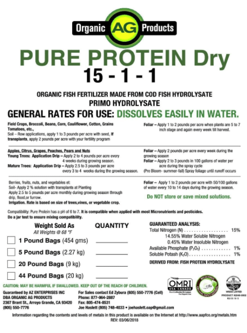 Pure Protein Dry – Organic Fish Aminos