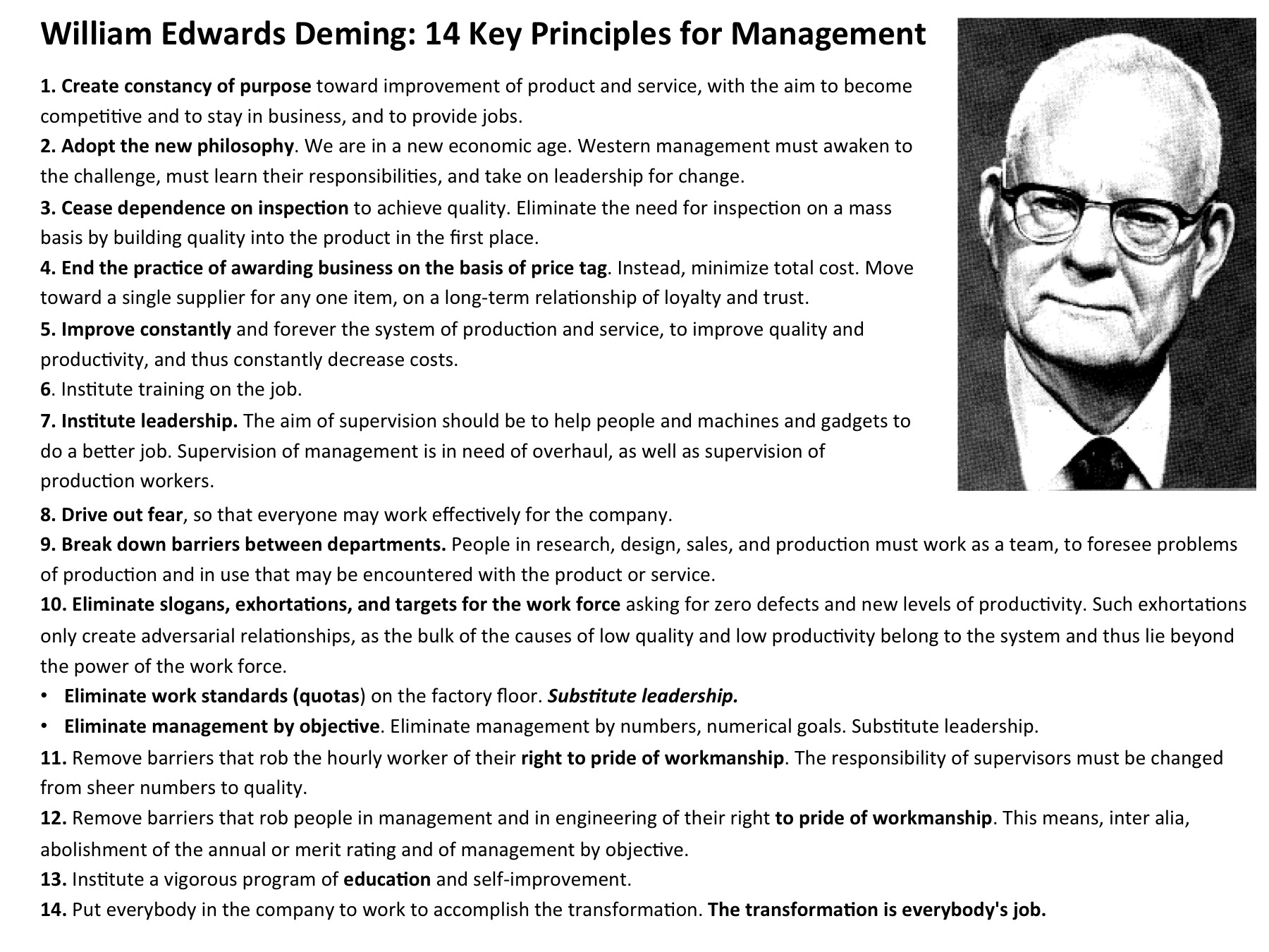 Deming 14 Points For S Management Custom Paper