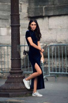 blue-velvet-dress-and-white-shoes