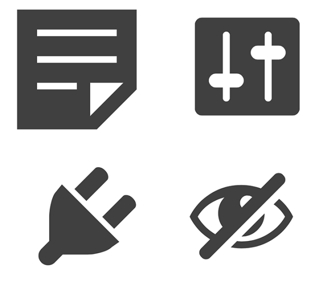On the first two icons, white shapes are the key to understanding the icon. On the third one, white shape/line is actually non-existent as it separates two parts on the shape. Fourth one falls out of the system and I don't even know what white line was supposed to do there.
