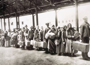 Ellis Island Immigrants Waiting for Ferry