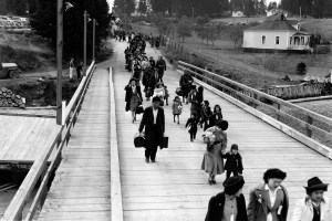 Japanese-American were forced to leave Bainbridge Island, Washington for internment camps elsewhere in the state.