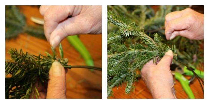 Using the floral wire to attach the branches to the wire circles.