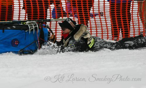 Motivational Speaker Mary Black not letting go during the 2004 John Beargrease Sled Dog Marathon