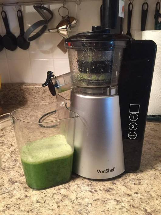 The VonShef slow masticating juicer I currently own for celery juicing