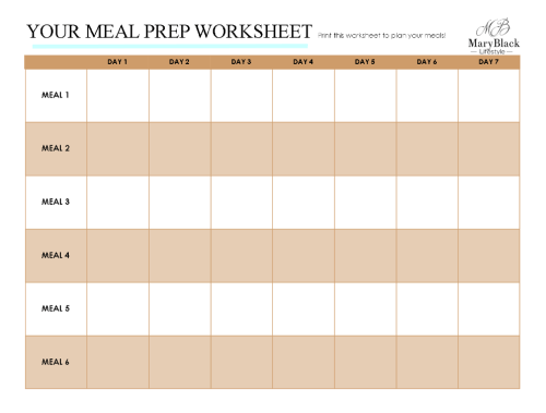 One of the worksheets for meal planning with EASE!