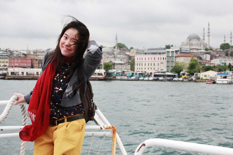female solo traveller on the bosphorus cruise