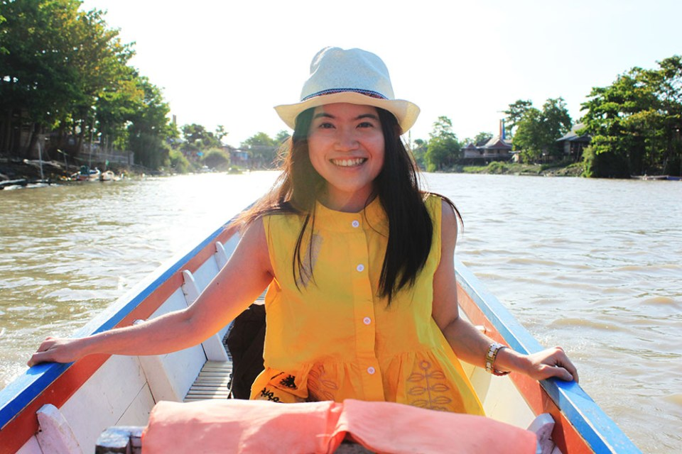 a happy girl on a boat ride at tempe lake sulawesi indonesia