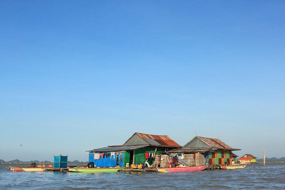 colourful floating houses at danau tempe tempe lake indonesia