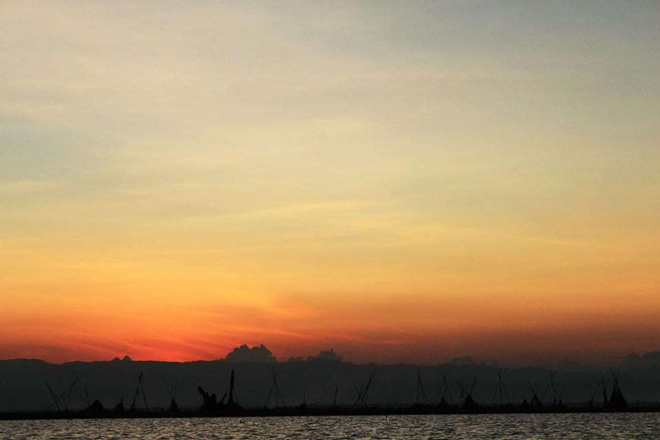 serene sunset at tempe lake sulawesi indonesia