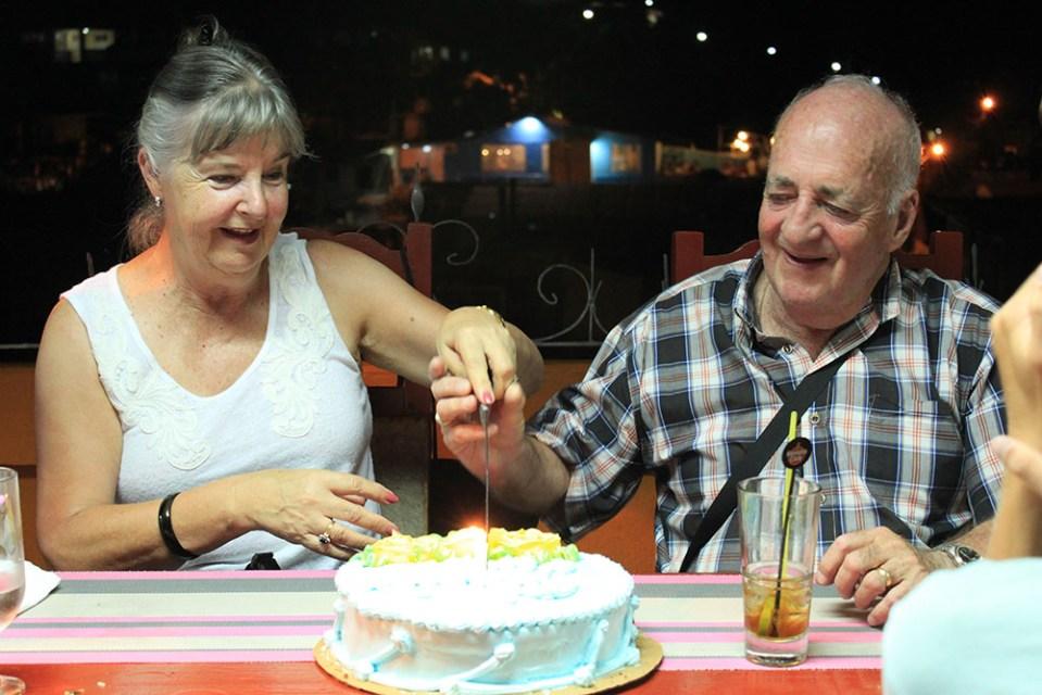 elderly travellers celebrating wedding anniversary while traveling in havana cuba
