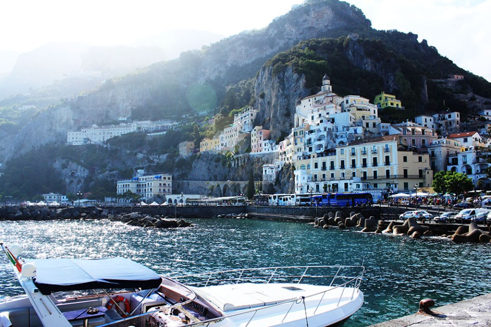 Isle of Capri during summer holiday Italy with luxury cruise and colourful buildings