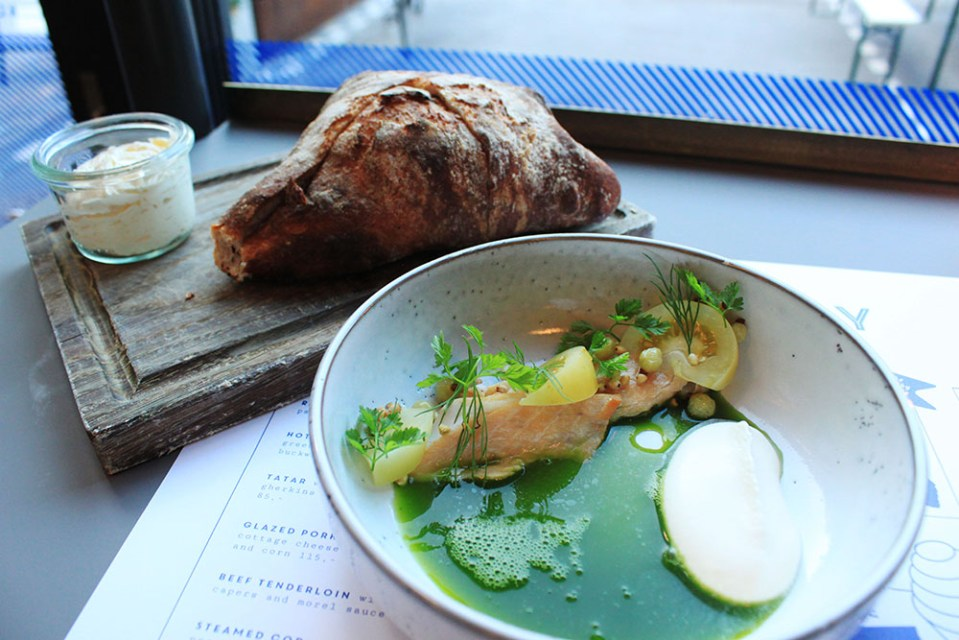 Fresh salmon with apple juice, cream & homemade bread for hygge and digital detox at Honey, Copenhagen